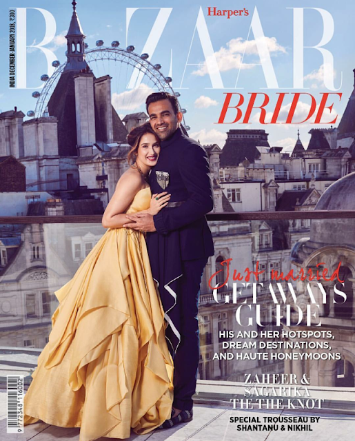 Newly weds Sagarika Ghatge and Zaheer Khan Cover's Dec-Jan2018 Issue