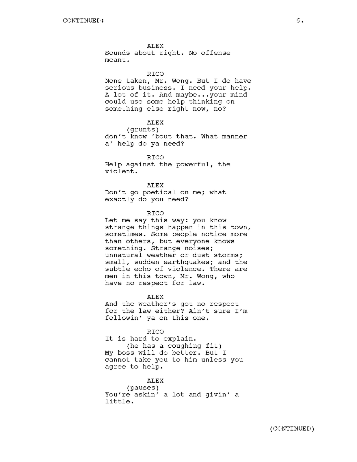 josephfaultersack  tv pilot script sample