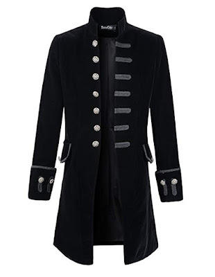 men's steampunk gothic victorian frock coat in velvet or brocade