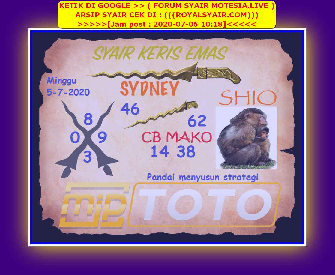 Kode syair Sydney Minggu 5 Juli 2020 157