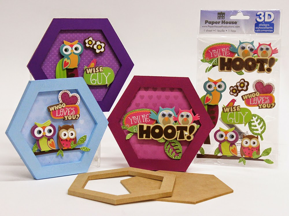 Use Hexagonal Frame with Paper House 3D Owl Stickers