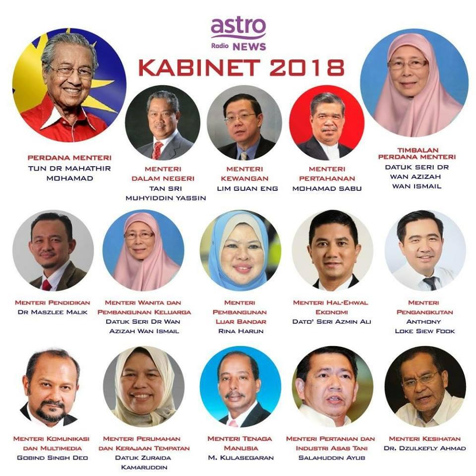 Senarai Menteri Malaysia 2018