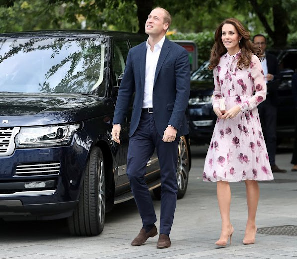Kate Middleton wore Kate Spade New York Encore Rose Chiffon Dress, Kiki McDonough Morganite Earrings, GIANVITO ROSSI Suede Pumps, LK BENNETT Nina Clutch