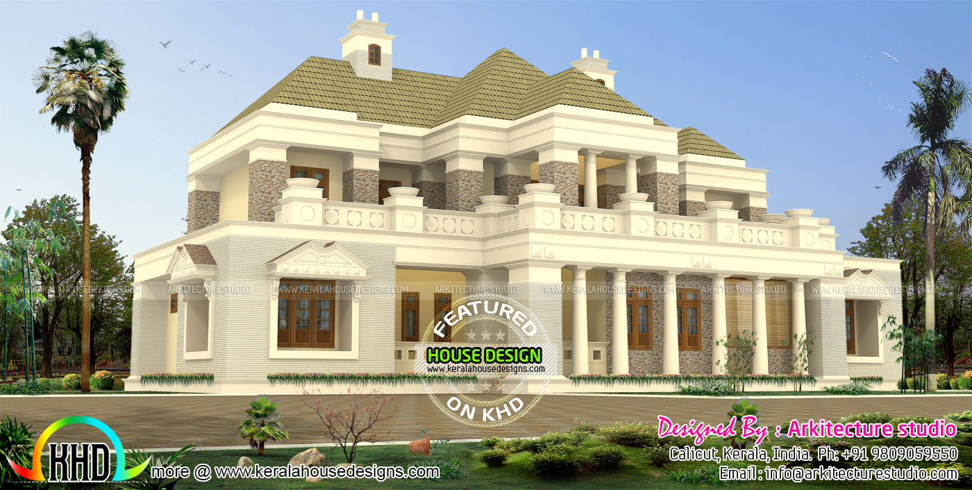 Luxury bungalow style colonial model indian home design for Colonial luxury house plans