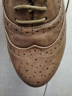Close up of the pattern of brogues