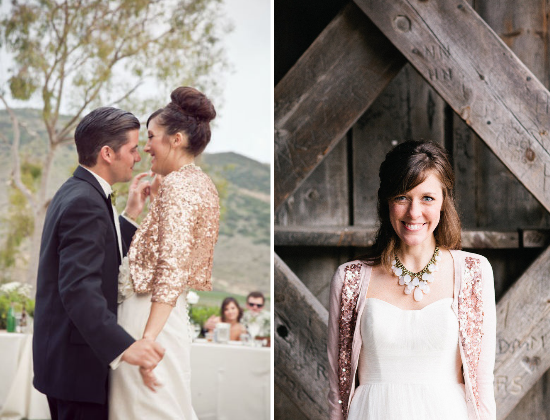 alternative alla stola per la sposa, brides wearing sequin bolero jacket