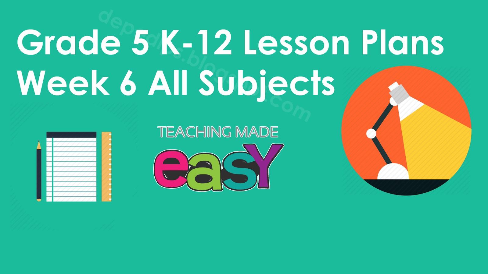 Ready Made K 12 Lesson Plans For Grade 5 1st Quarter
