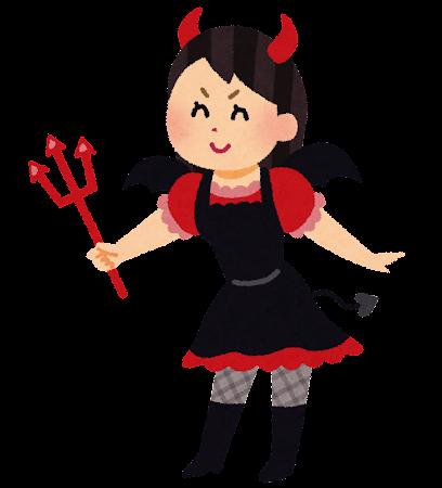 悪魔のコスプレをしている女の子のイラスト