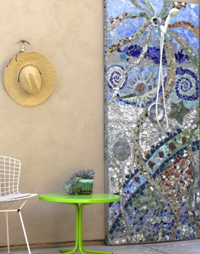 beach mosaic shower outdoor wall