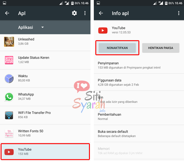 hapus aplikasi youtube di android