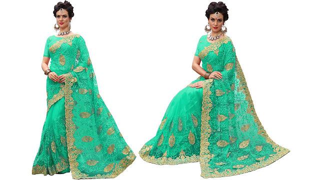 Pragati Fashion Hub Embroidered Fashion Net Saree  (Green)