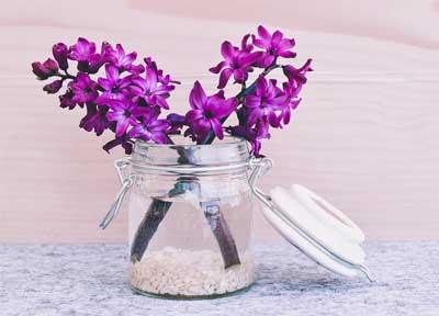 cara membuat hiasan dari toples bekas ini sangat mudah, tinggal menambahkan koral putih, air bening dan beberapa kuntum bunga segar