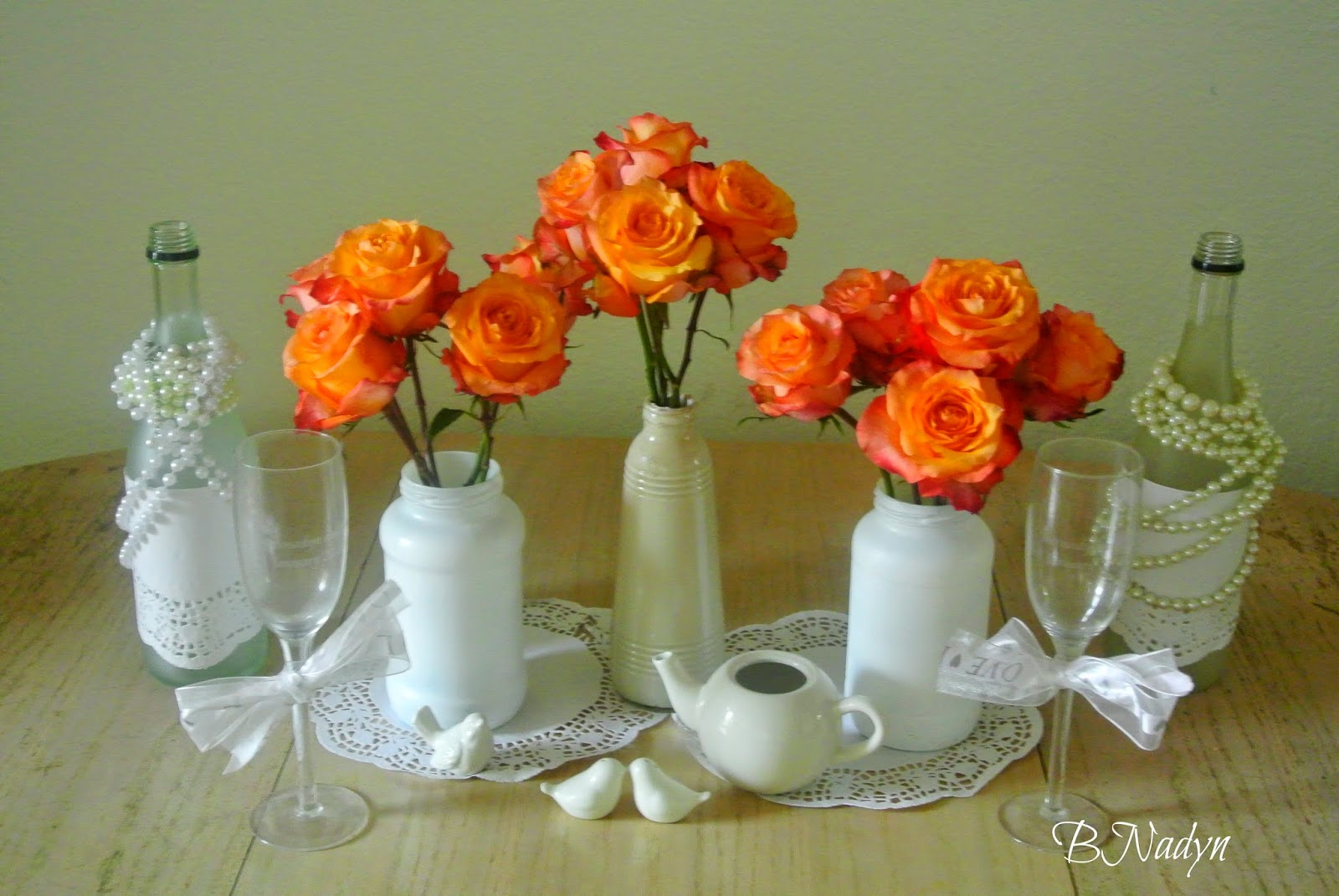 Roses, bouquet, wedding table setting