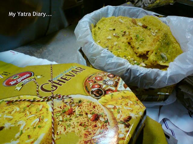 A Sweet called ghevar in Brijwasi shop in Mathura