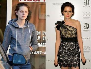 fotos de famosos antes e depois da maquiagem - kristen stewar