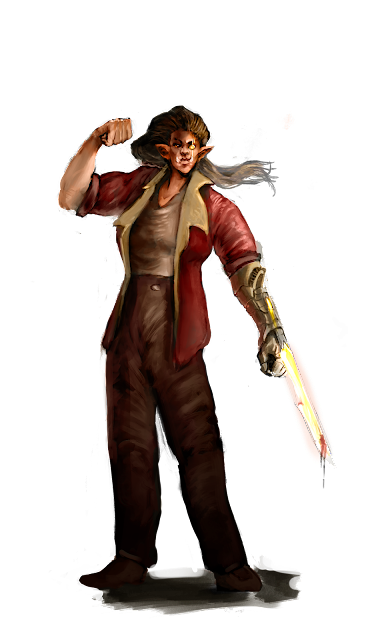 a person with tusks and long hair wearing a red jacket and brown shirt and pants, with a metal forearm that ends in a glowing, bloodied sword