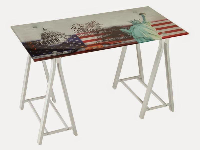 mesa cristal y metal, mesa caballetes cristal