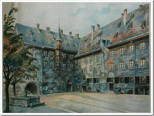 Pátio da Antiga Residência em Munique - Pinturas do Ditador Adolf Hitler