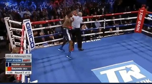 Maurice Hooker def. Alex Saucedo via 7th Round KO to retains l WBO junior welterweight title