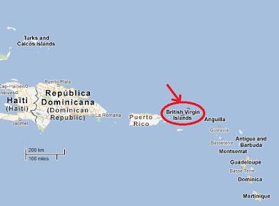 Carte iles vierges britanniques Localisation de l'archipel à visiter.