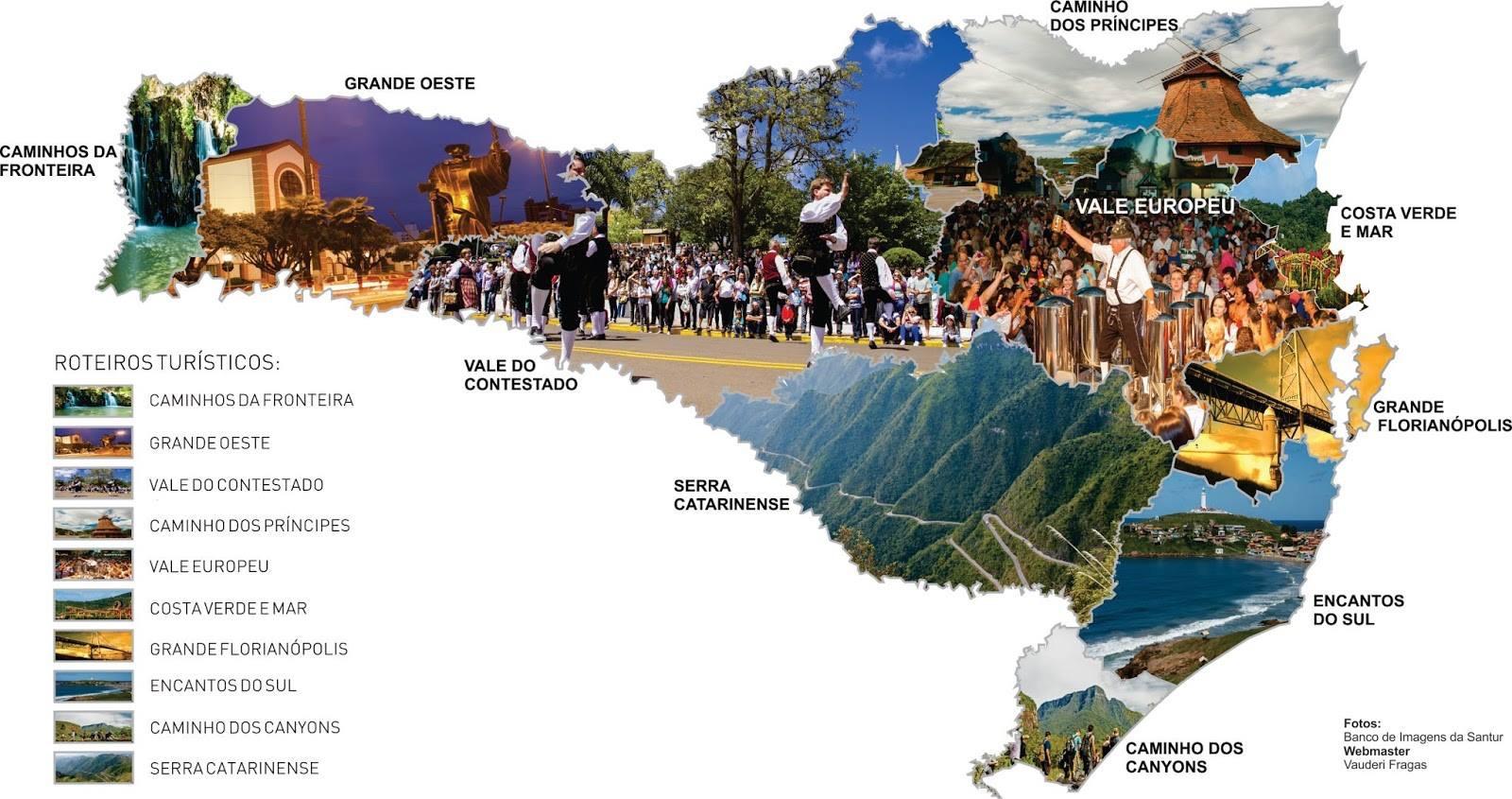 Mapa dos Roteiros Turísticos de Santa Catarina