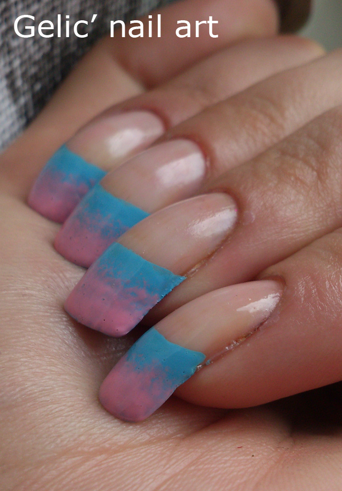 Gradient French Manicure: Gelic' Nail Art: Pastel Gradient Funky French