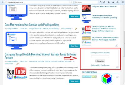 Email Langganan FeedBurner Blog Terpasang