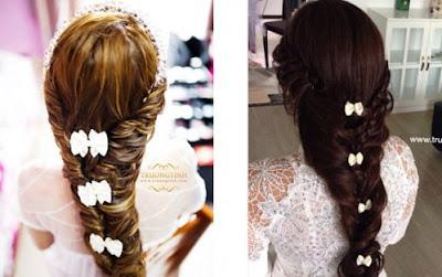 Cài tóc cô dâu cho mái tóc tết xương cá đẹp hút hồn