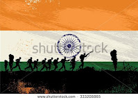 Indian soldiers in front of a flag background