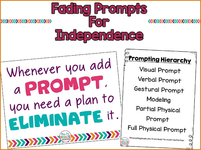 In order for students to be truly independent, we need to make sure that prompts are bing faded out quickly. With these suggestions, you should be able to help your students be more independent.