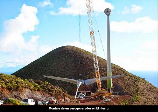 Montaje aerogenerador en el Hierro