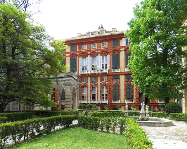 Palazzo Rosso (Red Palace) seen from Palazzo Doria-Tursi, Via Garibaldi, Genoa