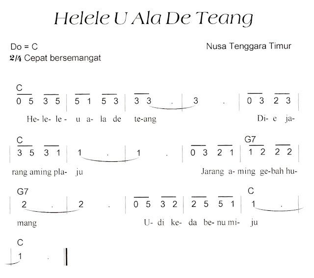 Not Angka Pianika Lagu Helele U Ala De Teang (Nusa Tenggara TImur)