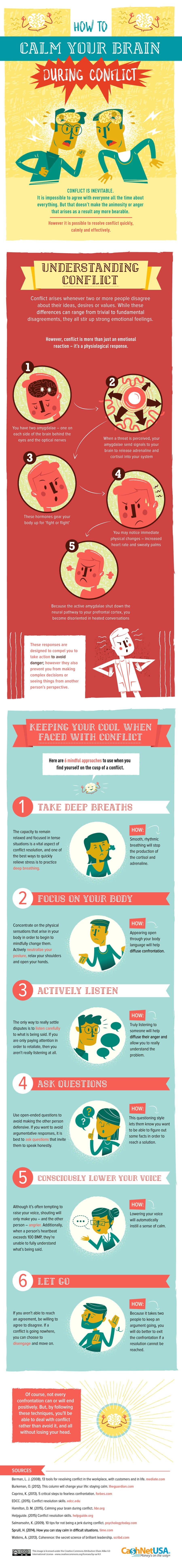 How to Calm Your Brain During Conflict - #infographic