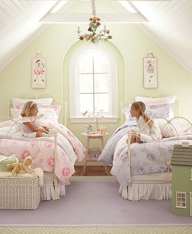 Shabby Chic kind of shares girls' room