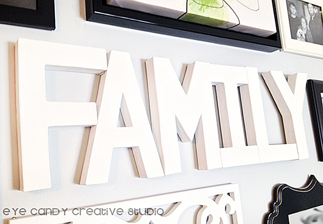 creating paper mache word art, black and white gallery wall family, paper mache