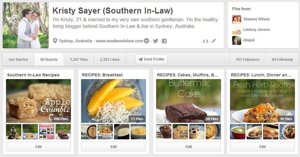 Pinterest Update - Categorised Recipes!
