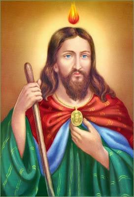 San Judas Tadeo con la Llama de Fuego sobre su Cabeza, el Medallon y el Garrote