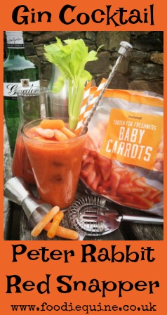 www.foodiequine.co.uk Vegetable Cocktail - A Carrot and Gin twist on the Bloody Mary with a Peter Rabbit Red Snapper