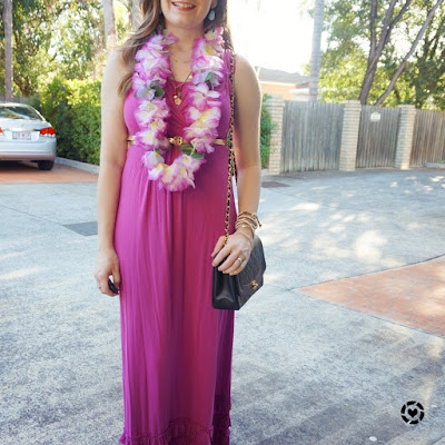 awayfrom blue instagram pink MEV havana maxi dress floral lei themed Christmas party outfit
