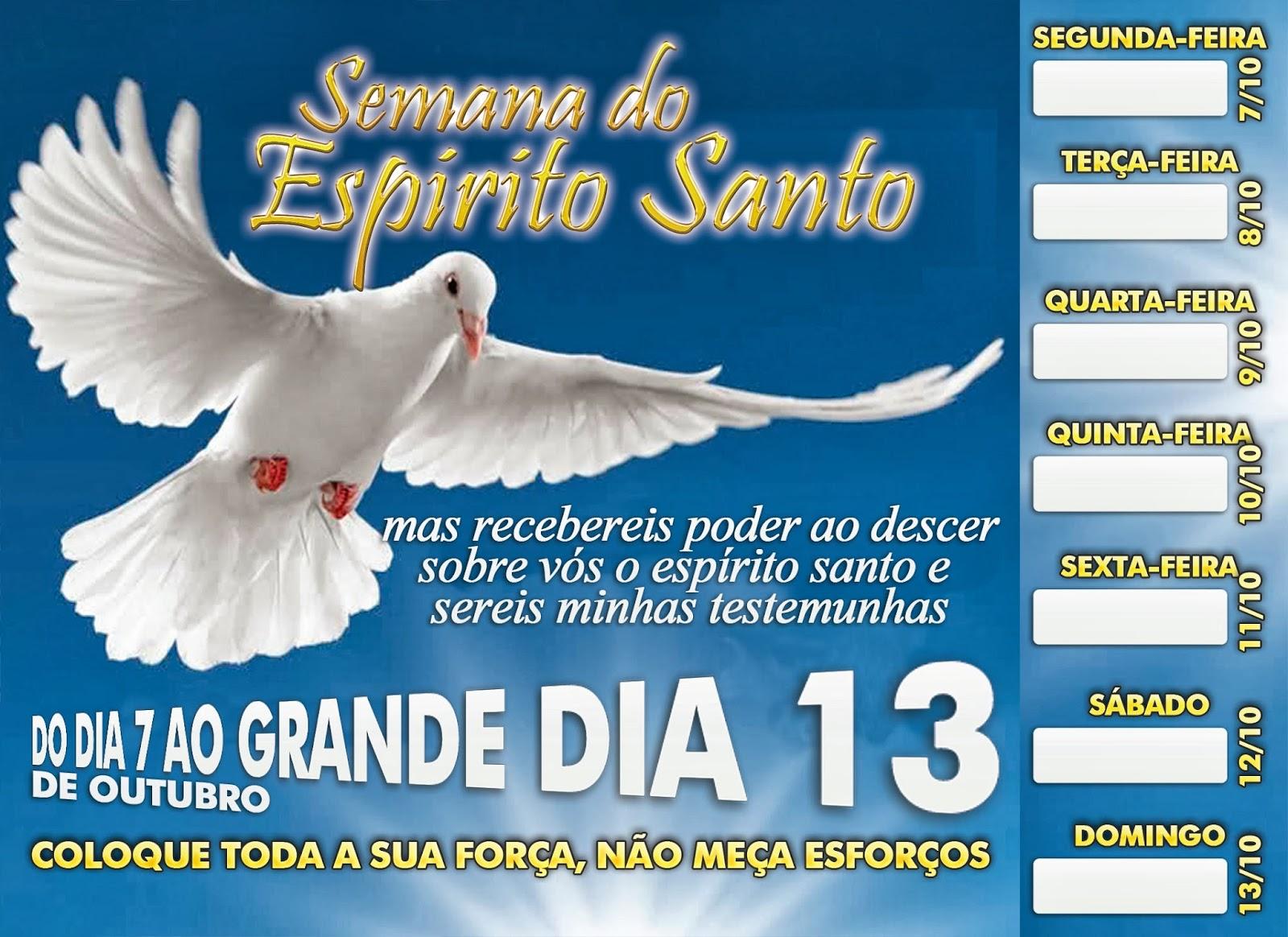 Frases FJU-PA: CARTELA SEMANA DO ESPIRITO SANTO