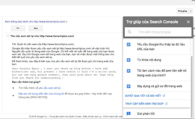 Gửi lại phản hồi cho người hỗ trợ của Google webmaster