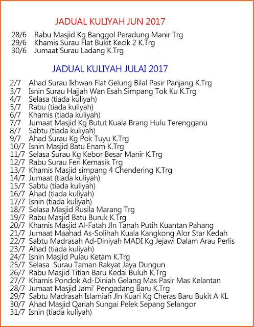 Jadual Kuliah Ustaz Azhar Idrus (UAI) Julai 2017