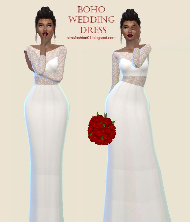 Sims 4 Wedding Dress.Sims Fashion01 Simsfashion01 Boho Wedding Dress The Sims 4