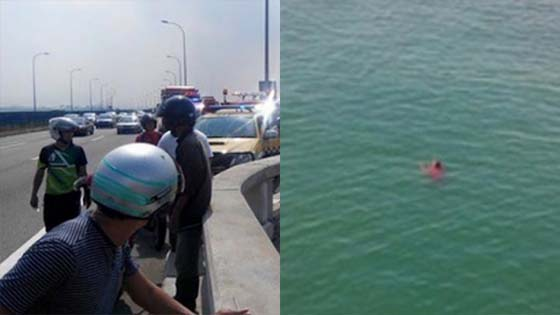 Detik Cemas Lelaki Terjun Dari Jambatan Pulau Pinang