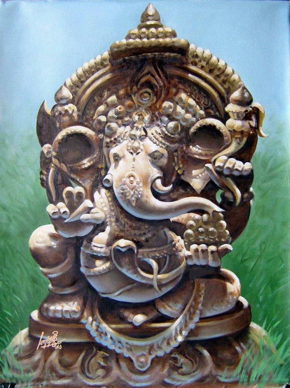 Oviyar Maruthi: Oil Painting - Lord Ganesha