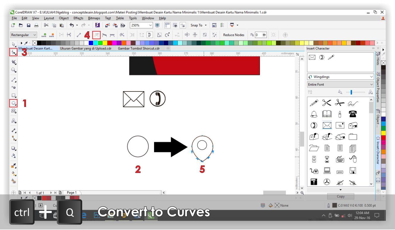 Concept Desain Kartu Nama 2 Sisi Laminasi Doff Atau Glossy Caranya Pilih Ellipse Tool 1 Buat Lingkaran Kemudian Tekan Ctrl Q Pada Keyboard Shape 3 Seleksi Titik Node Objek