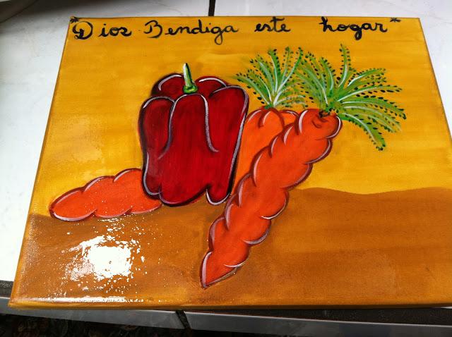 arte para cocina, chile dulce con zanahoria