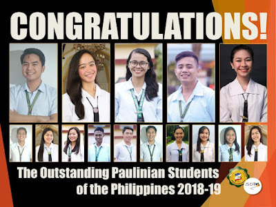 Congratulations to the Outstanding Paulinian Students of the Philippines 2018-2019!