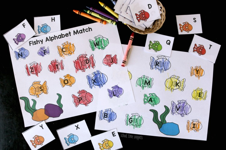 rainbow fish letter matching worksheet